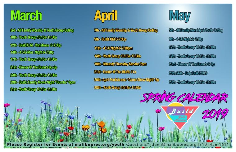 BUILD Spring Calendar 2019